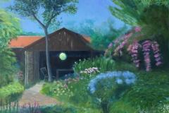 Tineke's tuin, 40/40 cm, olieverf op doek