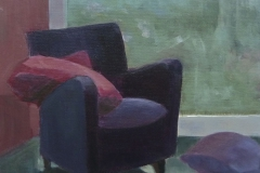 Paarse stoel 1, 25/25 cm, olieverf op doek