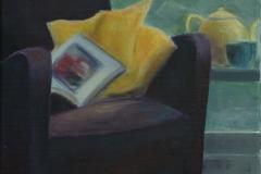 Paarse Stoel 2, 40/30 cm, olieverf op doek, verkocht