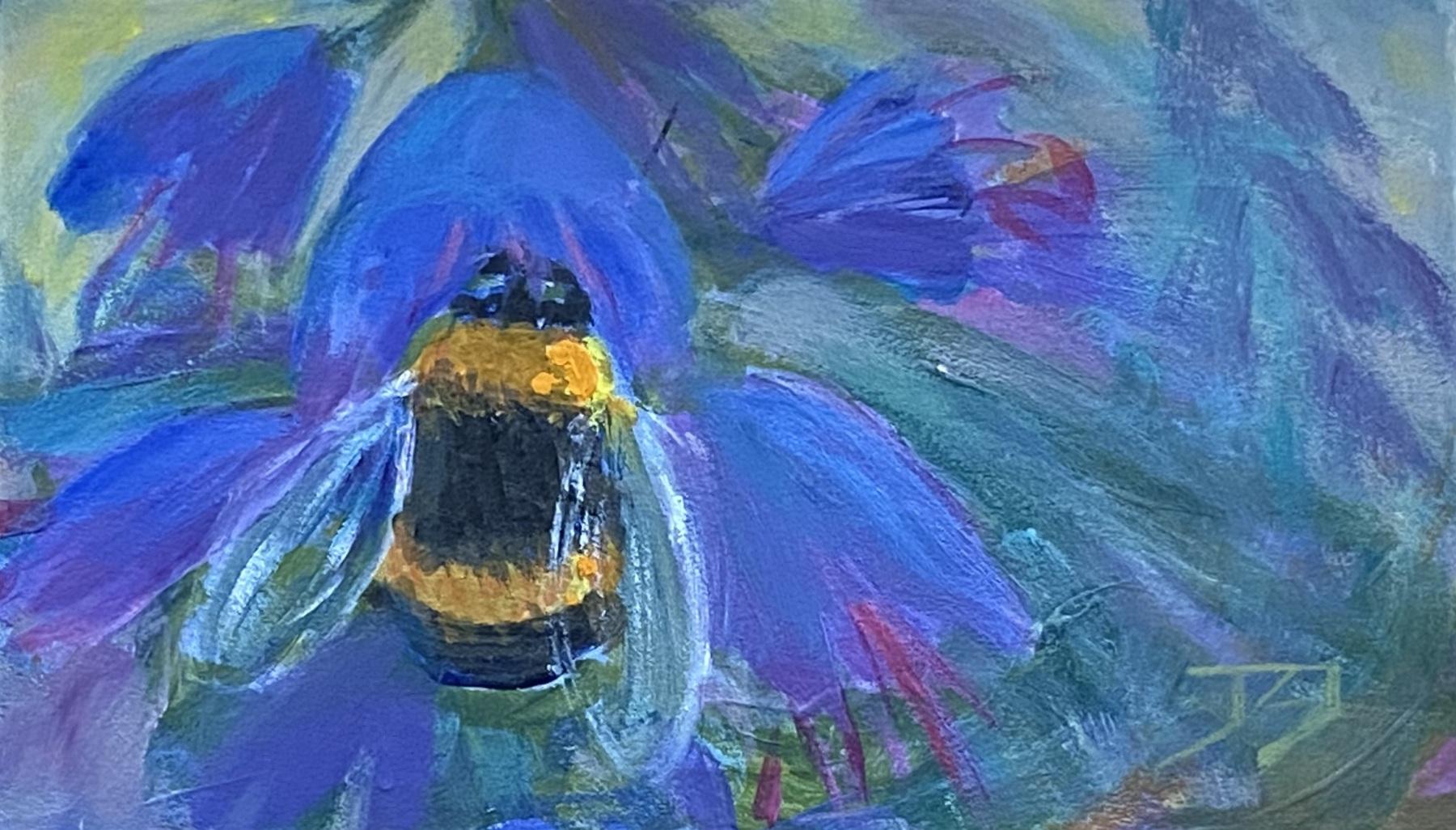 Hommel, acryl op marouflé, 7x12 cm