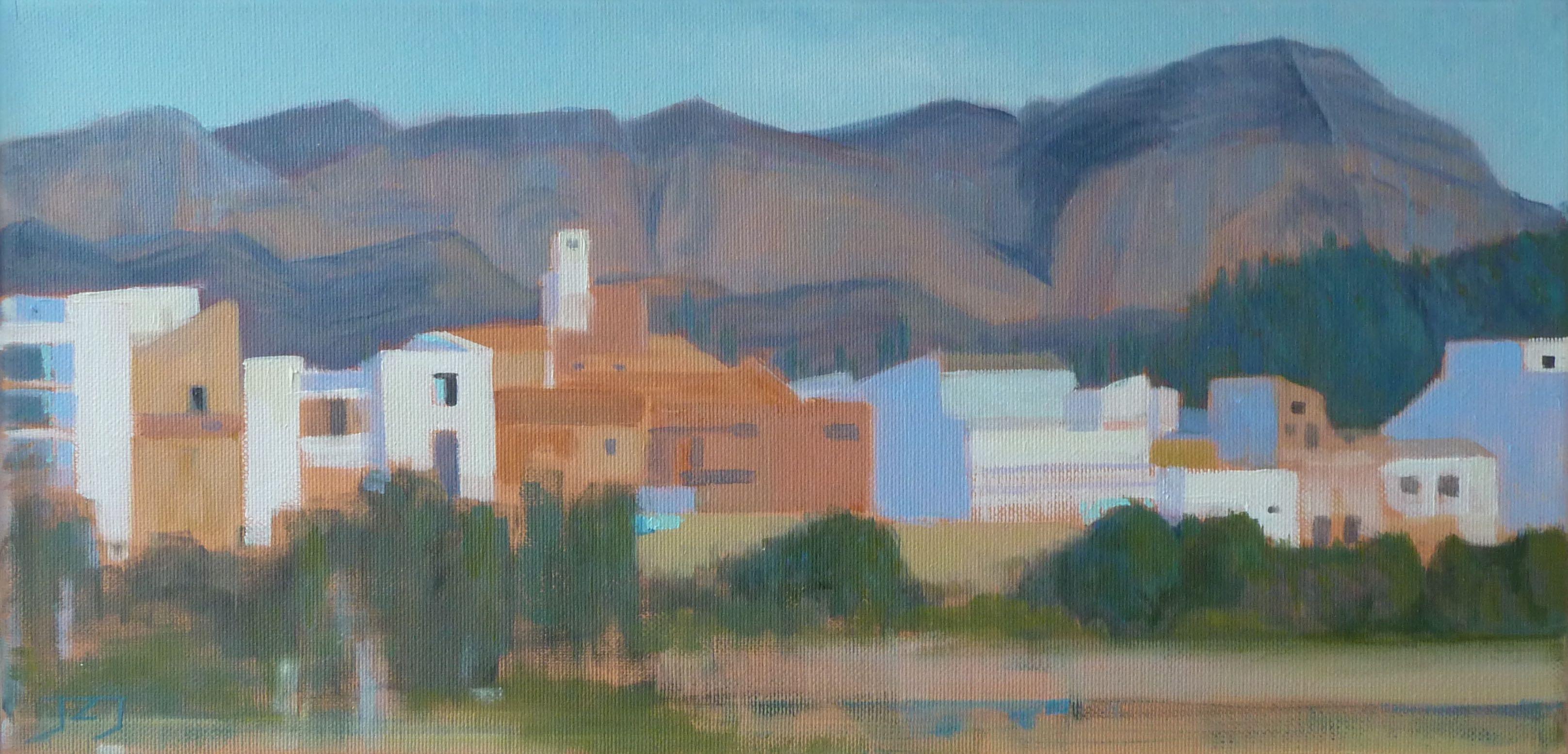Spaans dorp, 20/40 cm, olieverf op doek