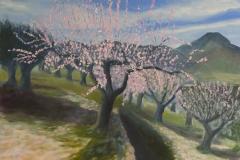Blooming almonds 2; 30/40 cm; olieverf op paneel
