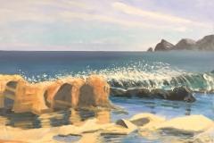 Javea coast; 30/40 cm; olieverf op paneel